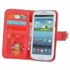 Flower Style Buckle PU Leather + Plastic Flip-Open Case w/ Card Slots for Samsung Galaxy S3 - Red