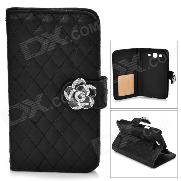 Retro Checked Style Protective PU Leather Case w/ Flower Design for Samsung Galaxy S3 i9300 - Black cool snake skin style protective pu leather case for samsung galaxy s3 i9300 brown
