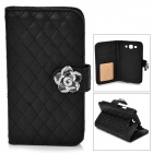 Retro Checked Style Protective PU Leather Case w/ Flower Design for Samsung Galaxy S3 i9300 - Black