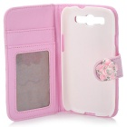 Retro Checked Style Protective PU Leather Case w/ Flower Design for Samsung Galaxy S3 i9300 - Pink