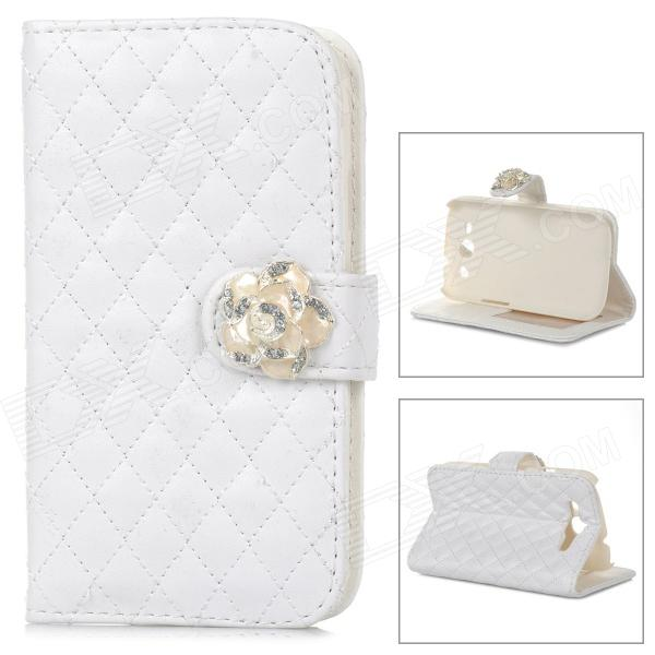 Flower Style Buckle PU Leather + Plastic Flip-Open Case w/ Card Slots for Samsung Galaxy S3 - White statue of liberty pattern protective pu flip open case w strap card slots for samsung galaxy s5