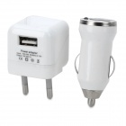3-in-1 EU Plug Power Adapter + Car Charger + Micro USB Cable for LG Nexus 5 / 4 - White (100~240V)