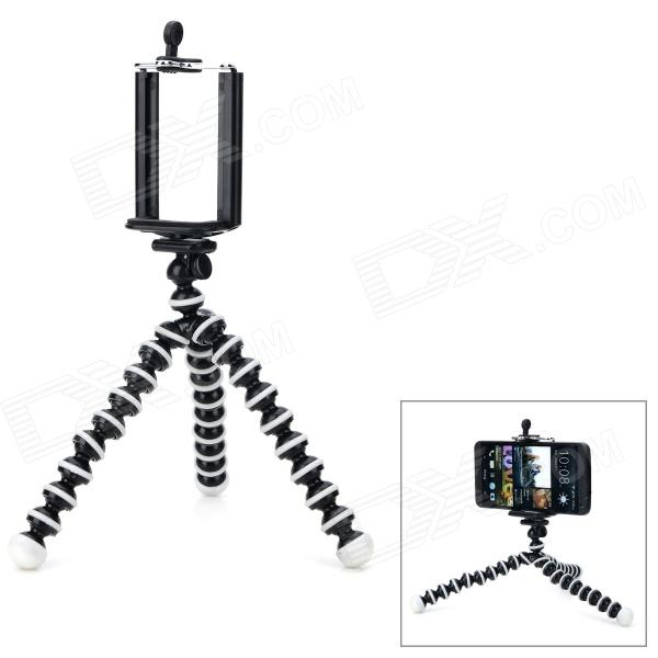 Convenient Mini Octopus Style Tripod for 6.5~9.8cm Wide Cellphone / Camera - Black + White 3 in 1 fish eye macro wide angle clip lens white black