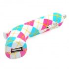 Pistol Style Lattice Pattern USB 2.0 Car Charger Adapter - Deep Pink + Blue