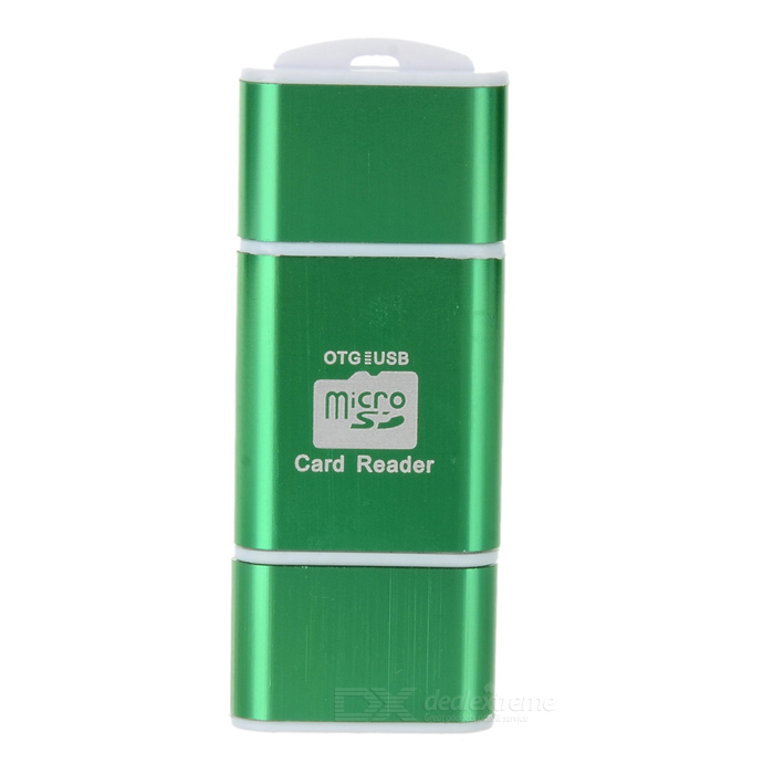 OTG USB Micro SD/TF Card Reader - Green + White (64G) 2 in 1 usb and micro usb otg tf sd card reader white