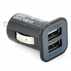 Quickman 1 +2,1 A Dual-Adaptador USB Car Charger - Preto