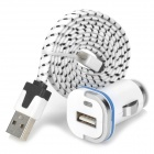 2-in-1 Car Charger w/ Micro USB Male to USB Male Charging Data Nylon Cable - White + Black