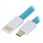 Y-MT4 USB to Micro USB Data Charging Flat Cable - Blue + White (1.2m)