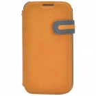 Zenus Stylish Protective Head Layer Cowhide Case Cover for Samsung Galaxy S4 - Yellow + Grey