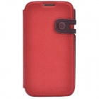 Zenus Stylish Protective Head Layer Cowhide Case Cover Stand for Samsung Galaxy S4 - Red + Brown