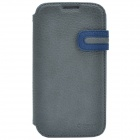 Zenus Stylish Protective Head Layer Cowhide Case Cover for Samsung Galaxy S4 - Deep Blue + Grey