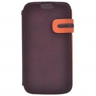 Zenus Stylish Protective Head Layer Cowhide Case Cover for Samsung Galaxy S4 - Brown + Orange