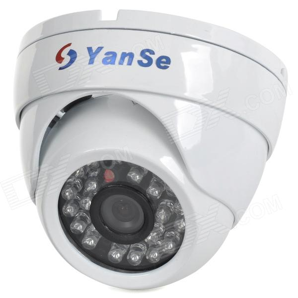 "YanSe YS-632-1CDW 1/4"" CMOS 800TVL CCTV Dome Camera w/ IR-Cut / 24-LED Night Vision - White"