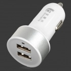 BL-010 Car Cigarette Powered Charger w/ Double USB Output - White (12~24V)