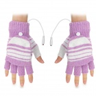 USB Woolen Yarn Charging Heating Gloves - Light Purple + White