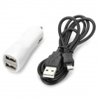 Dual USB Car Cigarette Lighter Charger + Micro Cabo USB para Samsung / HTC + More - Branco (12 ~ 24V)