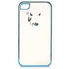 Cute Laser Etching Demon Pattern ABS Back Case for IPHONE 4 / 4S - Transparent + Blue