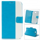 Protective PU Leather Case w/ Holder / Card Slot for Samsung Galaxy Note 2 N7100 - Blue + White