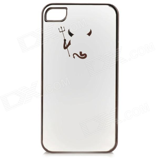 Cute Laser Etching Demon Pattern ABS Back Case for IPHONE 4 / 4S - Transparent + Black 2015 wholesale back to heaven demon college dxd leah redrawing wire pole dancing editions of hand box