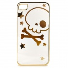Cute Laser Etching Skull Pattern ABS Back Case for IPHONE 4 / 4S - Transparent + Golden