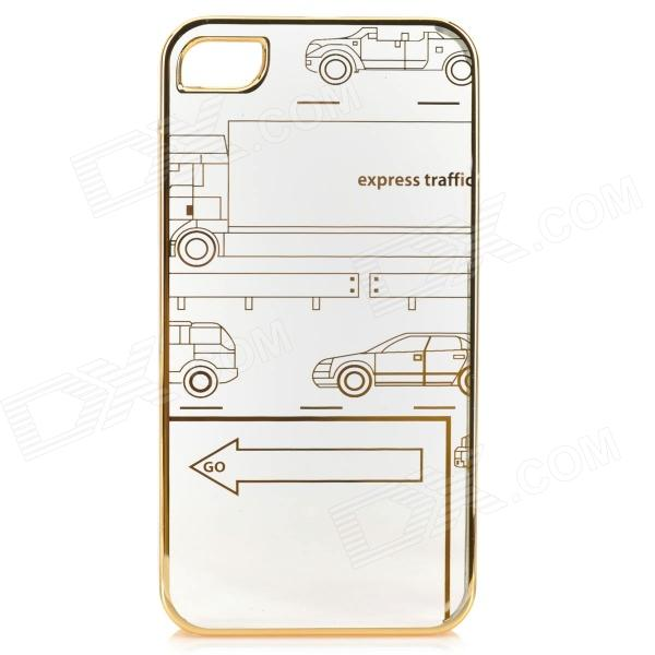Cute Laser Etching Pattern ABS Back Case for IPHONE 4 / 4S - Transparent + Golden stylish bubble pattern protective silicone abs back case front frame case for iphone 4 4s