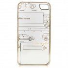 Cute Laser Etching Pattern ABS Back Case for IPHONE 4 / 4S - Transparent + Golden