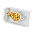 Free-Soldering Single Composite Video Wall Socket Module - White + Golden