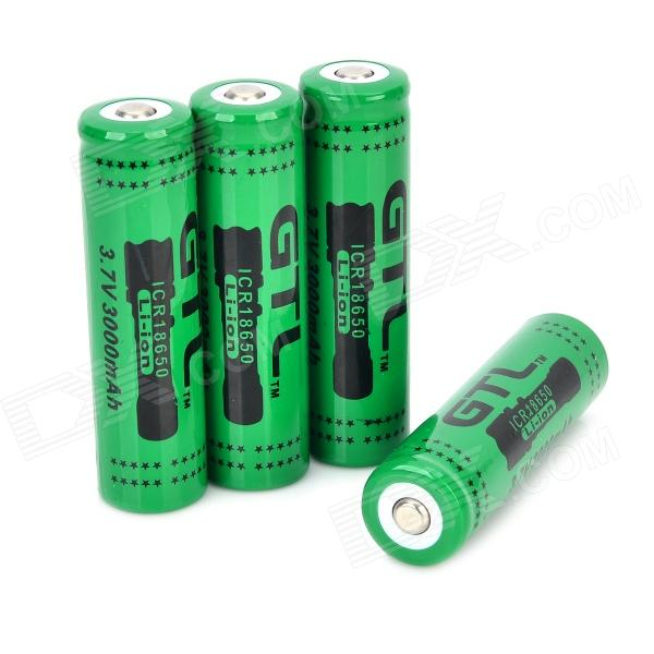 GTL Rechargeable 18650 Li-ion 3.7V 1250mAh Batteries Set - Green + Black (4 PCS) soshine rechargeable 3 7v 3400mah li ion 18650 batteries set black 2 pcs