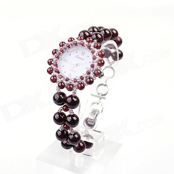 EANA WA04022Y Pure Natural Garnet Hand-Woven Women Quartz Bracelet Watch - Reddish Brown + Brown natural rhodolite garnet wide stretch bracelet