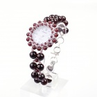 EANA WA04022Y Pure Natural Garnet Hand-Woven Women Quartz Bracelet Watch - Reddish Brown + Brown