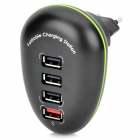 4-Port USB AC Power Charger Adapter for IPHONE / IPAD + More - Black (EU Plug / AC 100~240V)