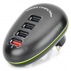 4-Port USB AC Power Charger Adapter for IPHONE / IPAD + More - Black (US Plugs / AC 100~240V)