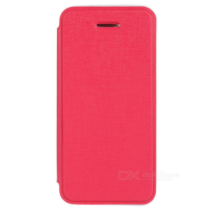 Protective PU Leather Case for IPHONE 5 / 5S - Deep Pink silk style protective pu leather plastic case for iphone 4 4s deep pink