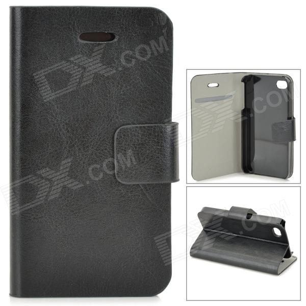 Protective PU Leather Case w/ Card Holder Slot for IPHONE 4 / 4S - Black stylish flip open pu leather tpu case w holder for iphone 4 4s red