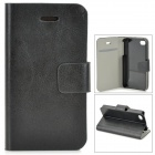 Protective PU Leather Case w/ Card Holder Slot for IPHONE 4 / 4S - Black