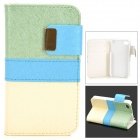 Protective PU Leather + Plastic Case for IPHONE 4 / 4S - Light Yellow + Green