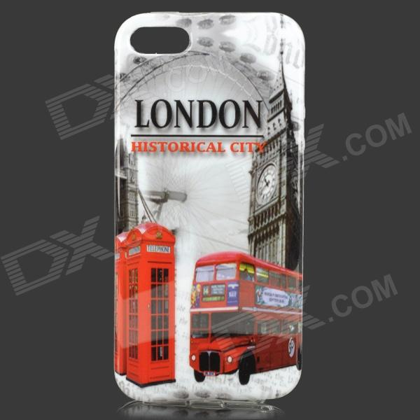 Retro London Vis mønster TPU tilbake Case for IPHONE 5 / 5S - flerfargede