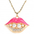 Big Lips Style Pearl Zinc Alloy Sweater Chain - Golden + Red