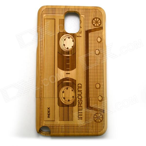 Retro Cassette Pattern Protective Bamboo Back Case for Samsung Galaxy Note 3 N9000 - Yellow