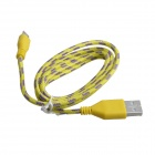 Nylon USB 2.0 Male to Micro USB Male Data Sync / Charging Cable for Samsung + More - Yellow (100cm)