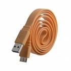 USB 2.0 Male to Micro USB 3.0 Data / Charging Flat Cable for Samsung Galaxy Note 3 N9000 - Orange