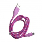 Nylon USB 2.0 Male to Micro USB Male Data Sync / Charging Cable for Samsung + More - Pink (100cm)