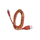 Nylon USB 2.0 Male to Micro USB Male Data Sync / Charging Cable for Samsung + More - Red (100cm)