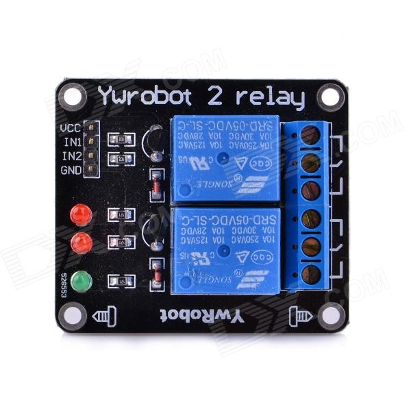Navo 2-Channel 5V Relay Expansion Board - Black + Blue 5v 2 channel ir relay shield expansion board module for arduino with infrared remote controller