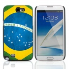 2014 World Cup Brazil Flag Pattern Metal Case Cover w/ Card Slot for Samsung Galaxy Note 2 - Blue