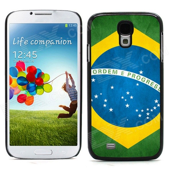 2014 World Cup Unique Brazil Flag Pattern Metal Case Cover w/ Card Slot for Samsung Galaxy S4 - Blue