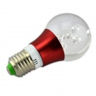 E27 3W 3000~6000mcd LED RGB Crystal Lamp w/ Controller - Transparent + Red (85~265V)