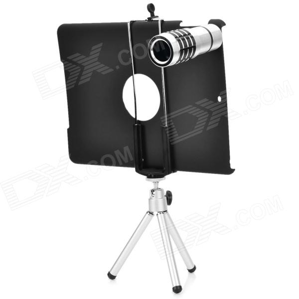 Aluminum Alloy 12X Telescope w/ Tripod / Retractable Bracket / Back Case for IPAD AIR - Black 16mm bore 100mm stroke aluminum alloy pneumatic mini air cylinder mal16x100 free shipping