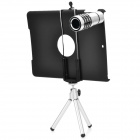 Aluminum Alloy 12X Telescope w/ Tripod / Retractable Bracket / Back Case for IPAD AIR - Black