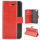 Flower Show Stylish Flip-open PU + PC Case w/ Holder + Card Slot for IPHONE 5 / 5S  - Red + Black